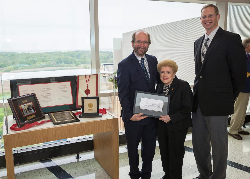 Dean Robert Golden, Dr. Alice McPherson, and Dr. David Gamm at the Gonin Medal dedication